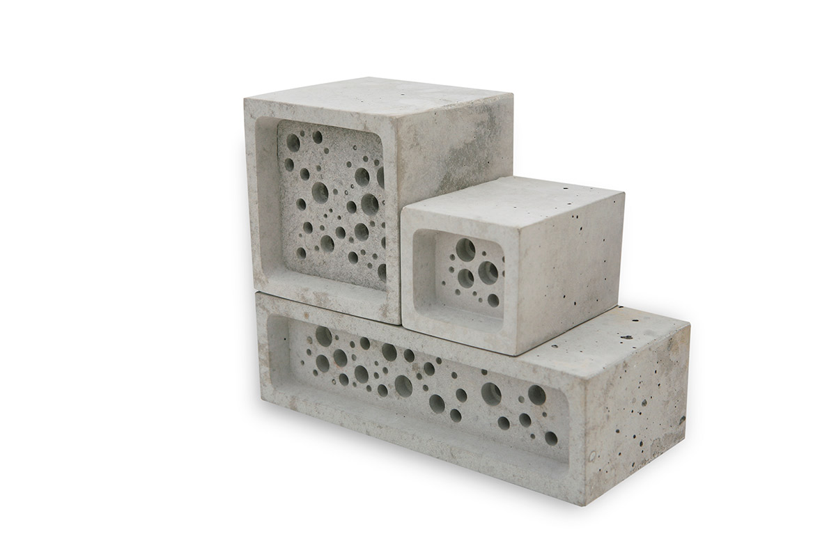 Stack of bee bricks in different sizes