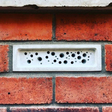 bee brick in a brick wall by green and blue